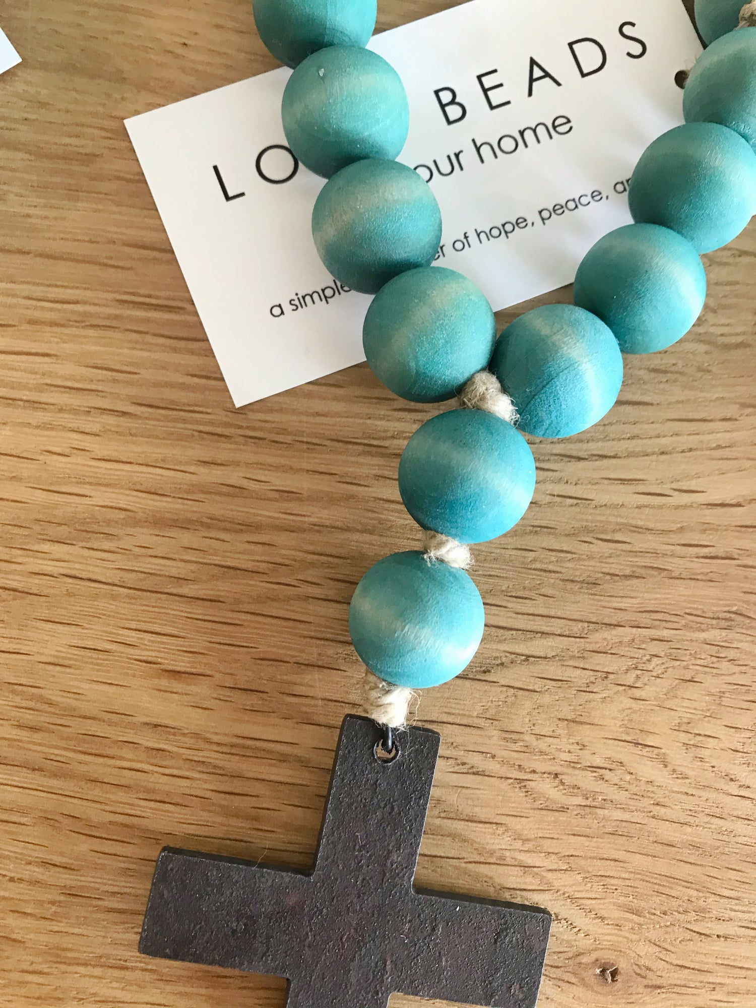 Image of MINI LOVE BEADS - aqua cross-1