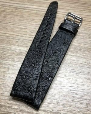 Image of Hand-rolled rembordé vintage Black ostrich watch strap