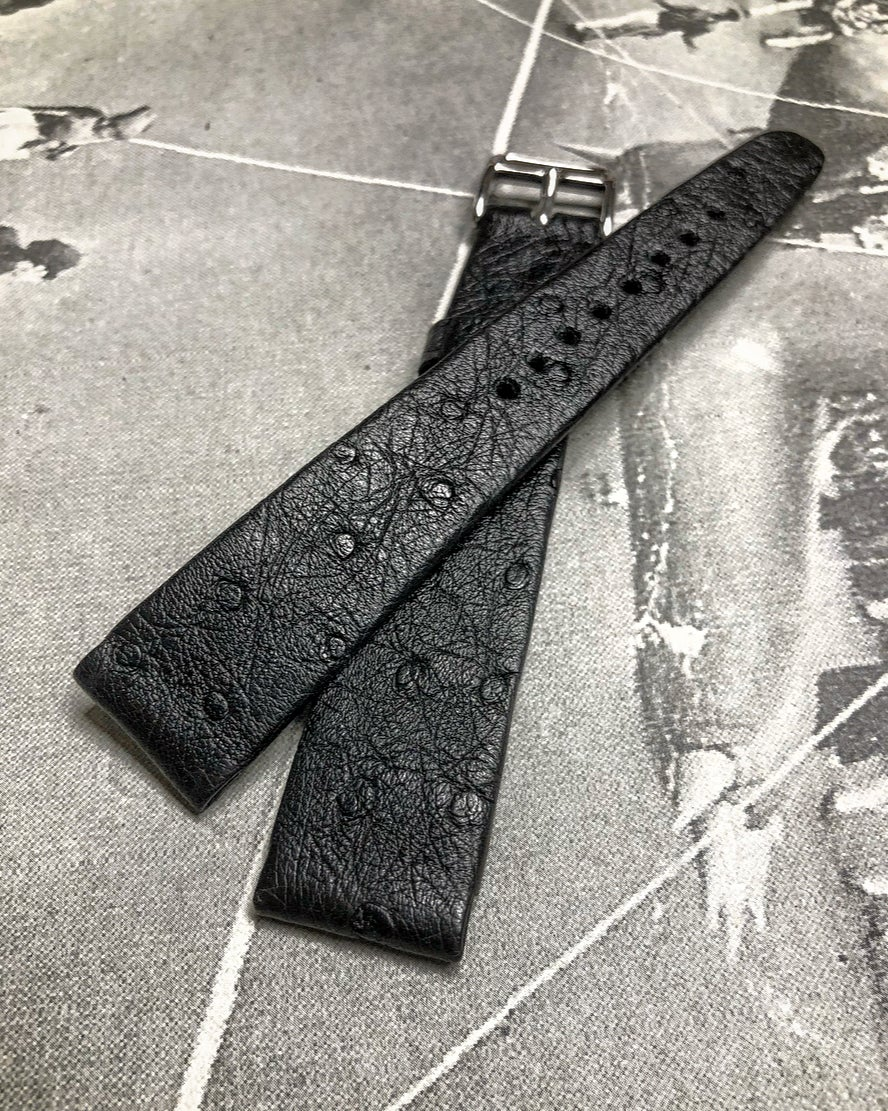 Image of Hand-rolled rembordé vintage Black ostrich watch strap