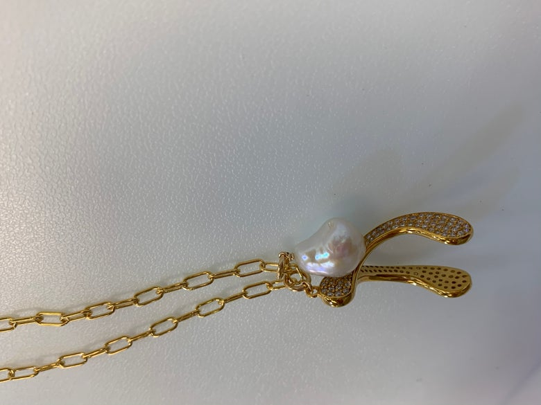 Image of Diamond Pearl Wishbone necklace