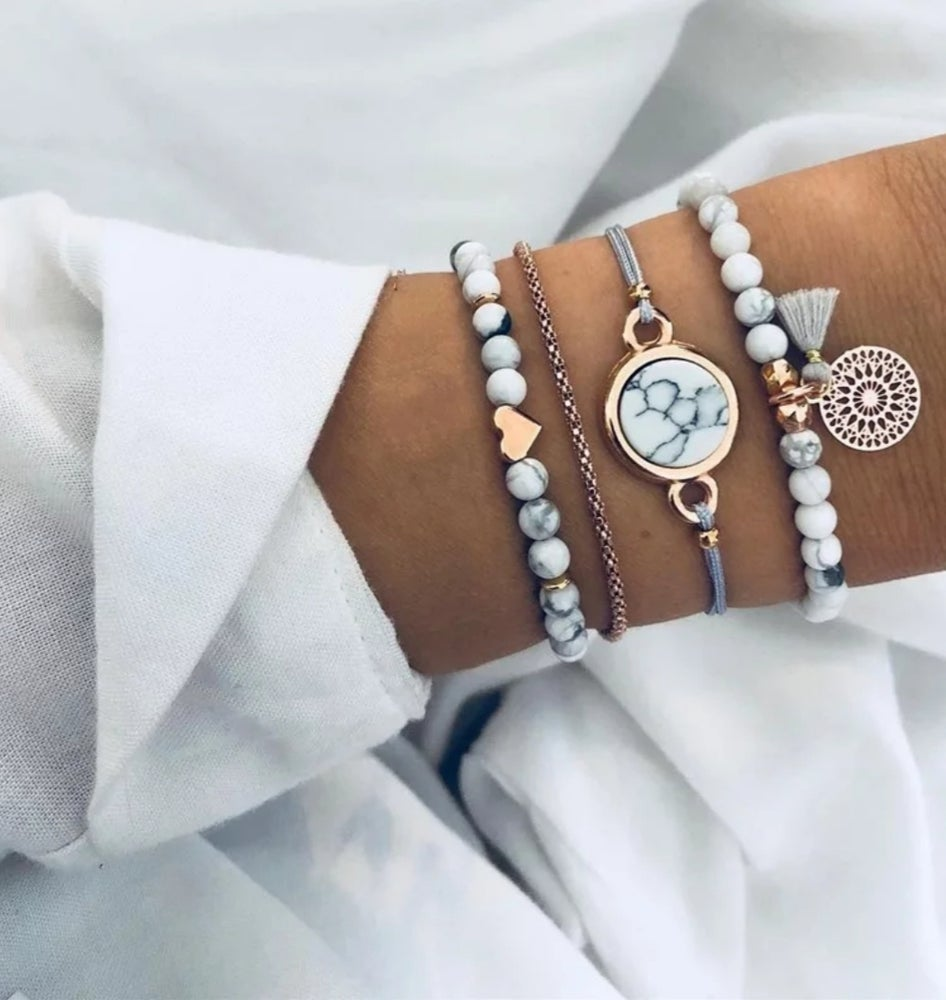 Image of Grey Stack Bracelet Set