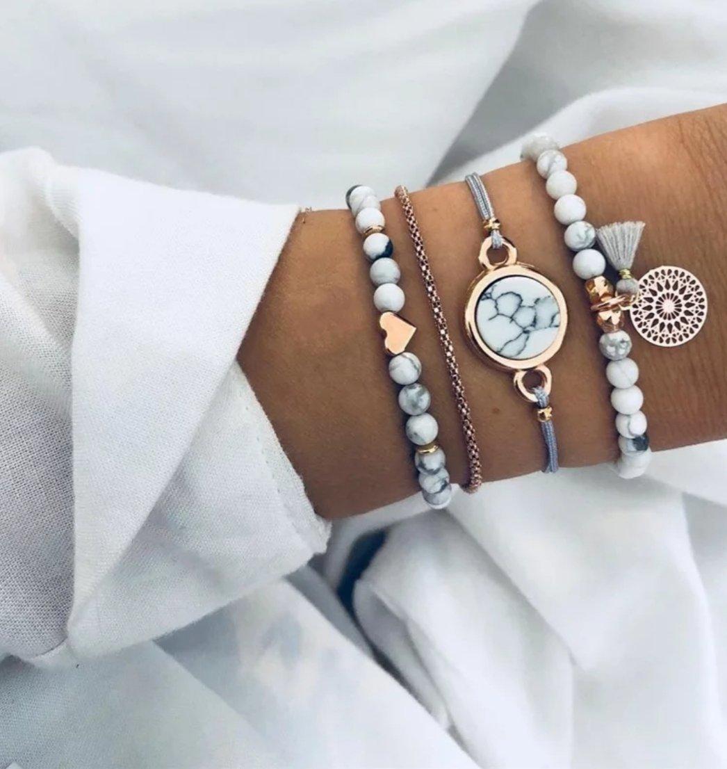 Image of Grey Stack Bracelet Set