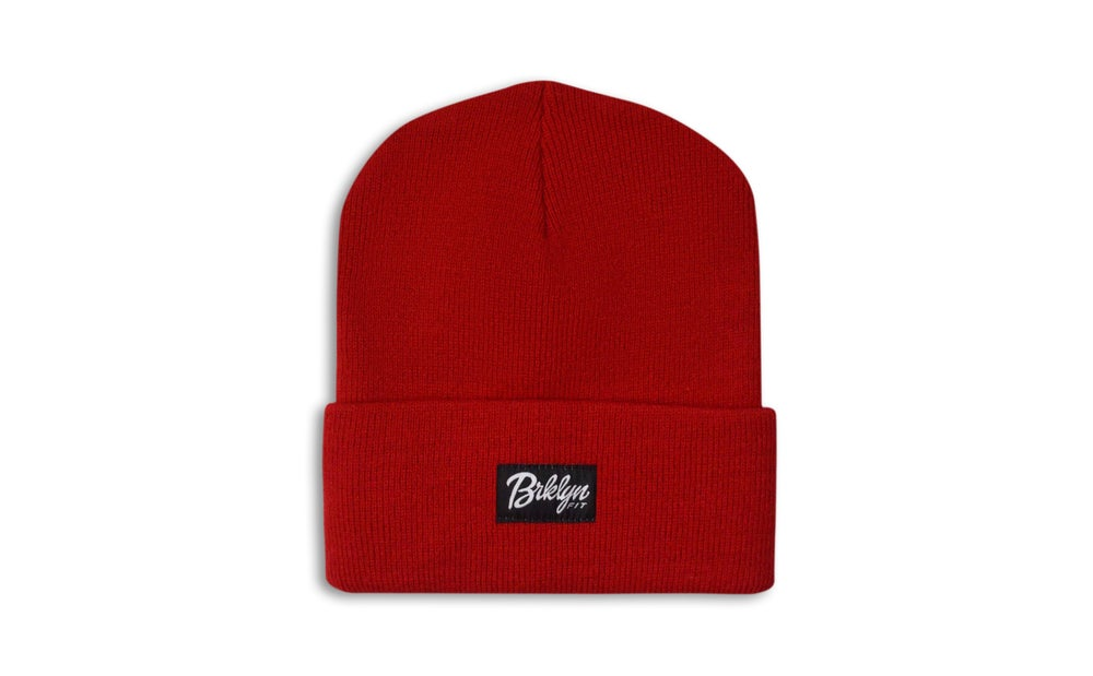 Image of Brklyn Fit® Woven Label Beanie (Red)