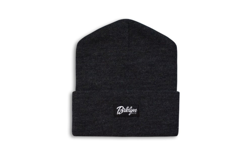 Image of Brklyn Fit® Woven Label Beanie (Dark Grey)