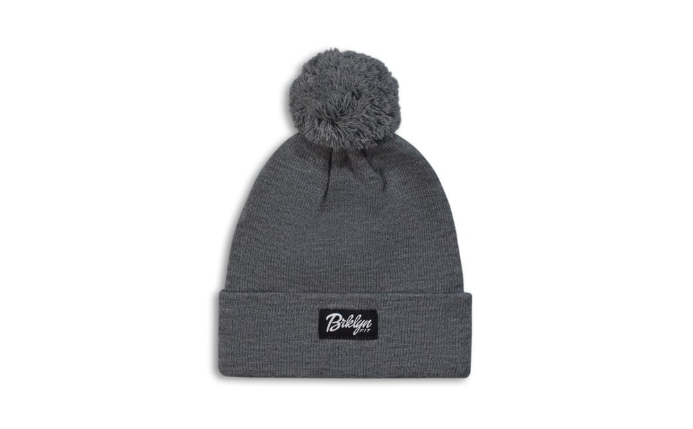 Image of Brklyn Fit® Woven Label Pom W/ BKFT Beanie (Grey)