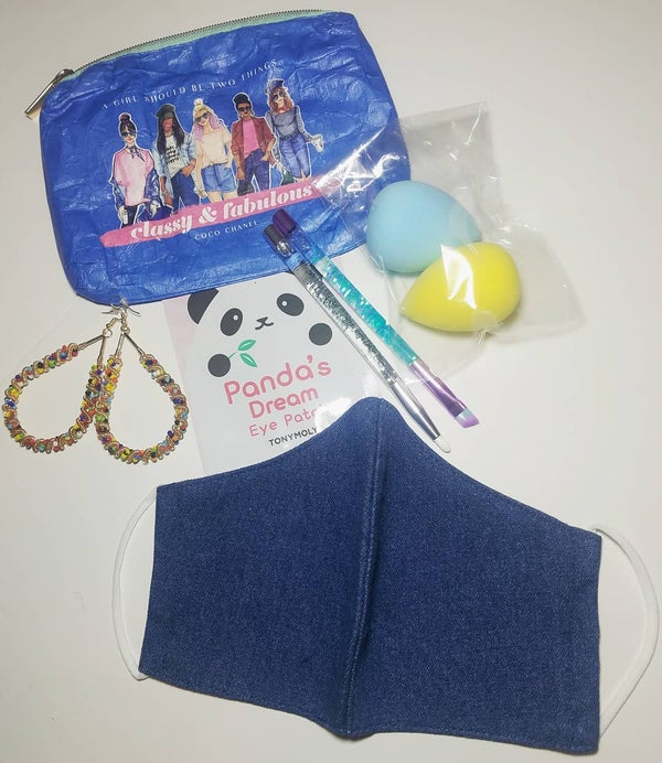 Image of Classy & Fabulous Pouch And Denim Face Mask Bundle