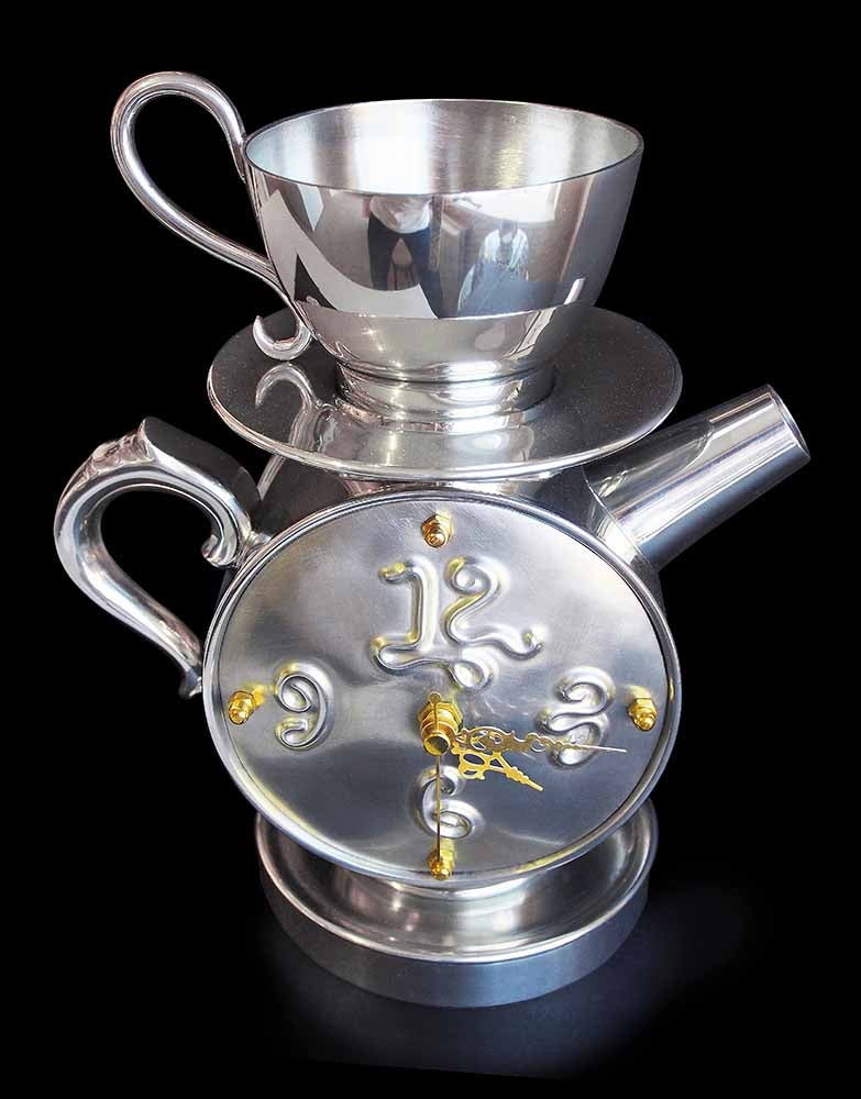 Image of Alice In Wonderland Unique Pewter Teapot Clock