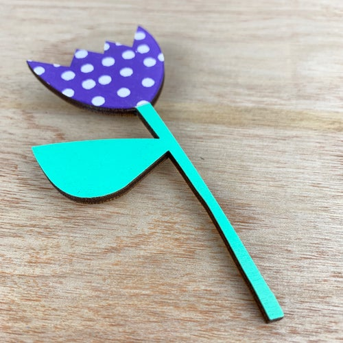 Image of Screen Printed Wooden Flower Brooch With Stand  - Purple with Green Stem