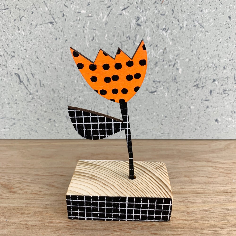 Image of Screen Printed Wooden Flower Brooch With Stand  - Orange with Black Stem
