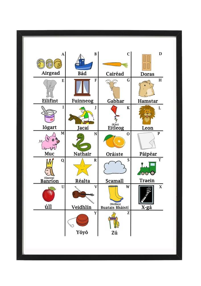 Image of Irish Alphabet A4 Framed