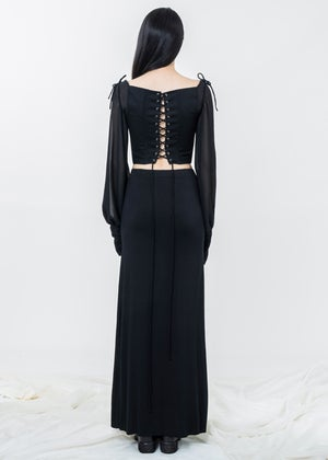 Image of Leia Corset Top With Sheer Sleeves - Black