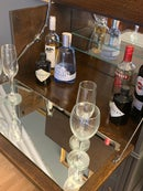 Image 2 of Solid oak drinks cabinet in dark grey & gold.