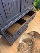 Image 3 of Solid oak drinks cabinet in dark grey & gold.