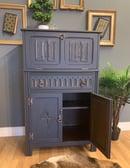 Image 4 of Solid oak drinks cabinet in dark grey & gold.
