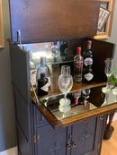 Image 5 of Solid oak drinks cabinet in dark grey & gold.