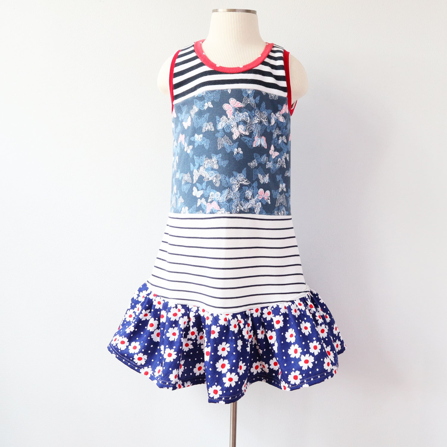 Image of daisy butterfly stripe vintage fabric upcycled 4/5 courtneycourtney tank shift dress red white blue