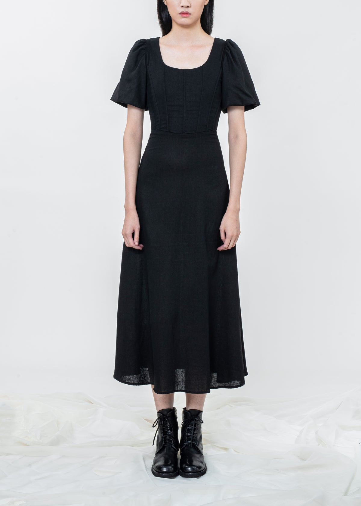 Image of Black Corset Puff Sleeves Dress - PLEASE INQUIRE
