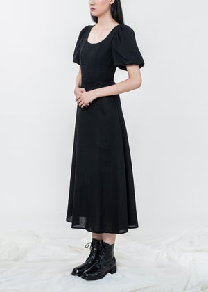 Image of Black Corset Puff Sleeves Dress