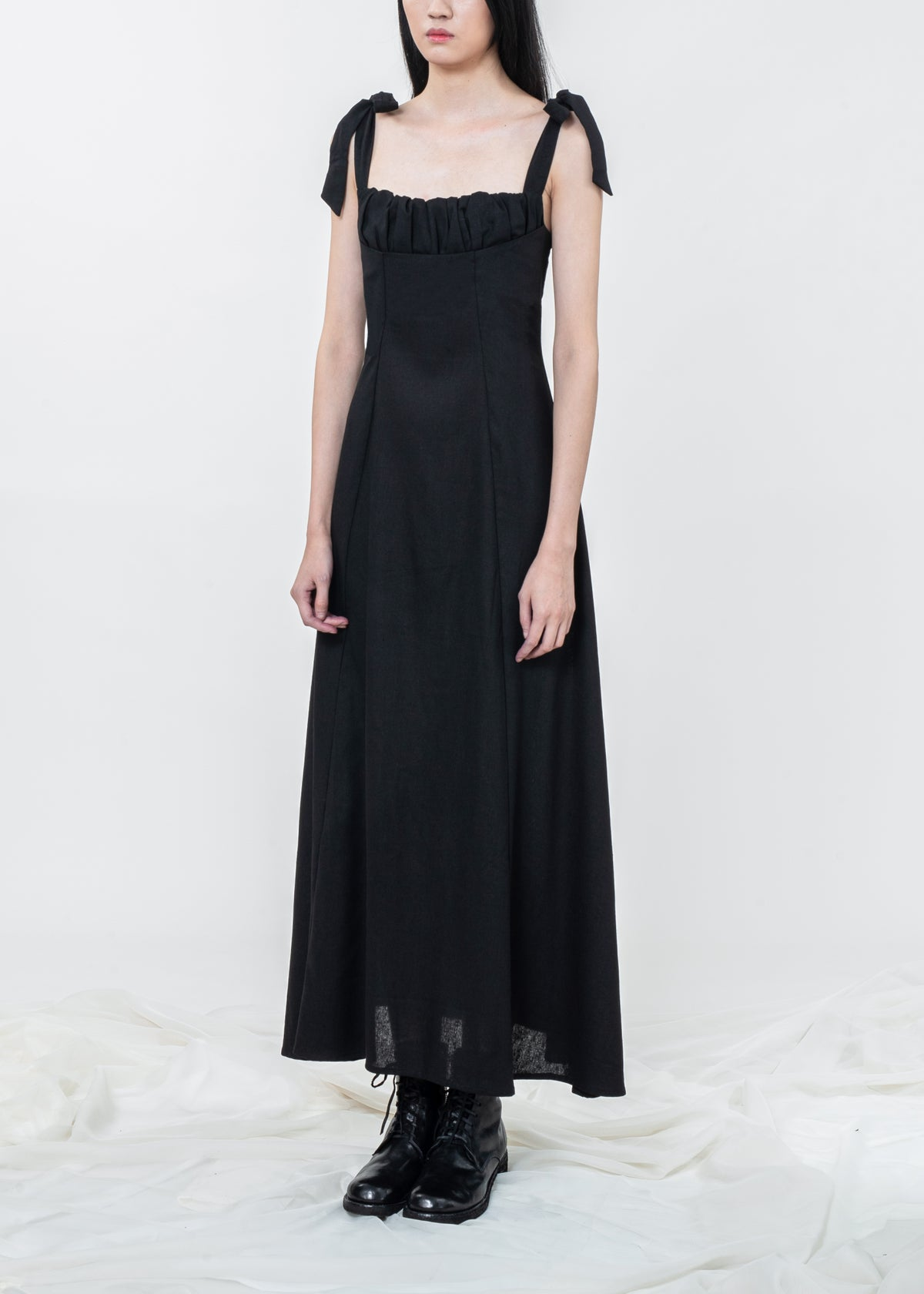 Image of Black Rose Dress With Ties