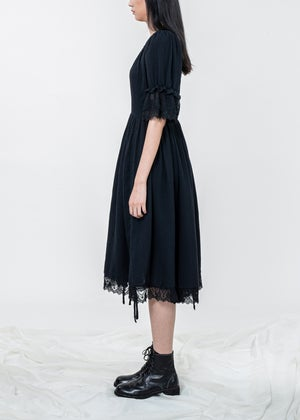 Image of Ruffle Sleeves Tie Up Midi Dress