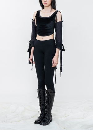 Image of Black Velvet Top With Lace Up Gloves