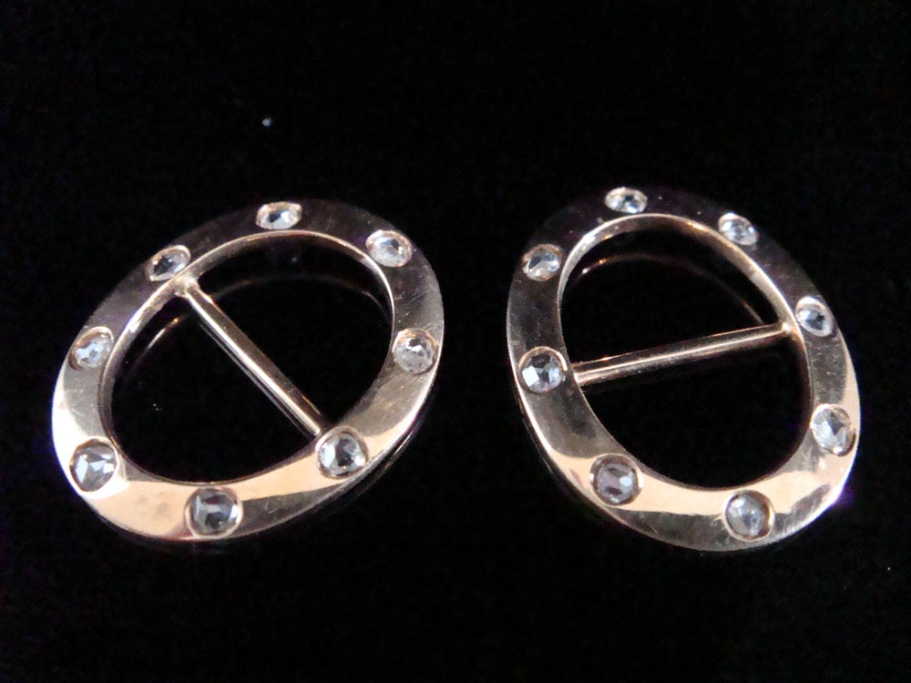 Image of Victorian 9ct rose gold rose cut diamond buckles- a pair- Rare