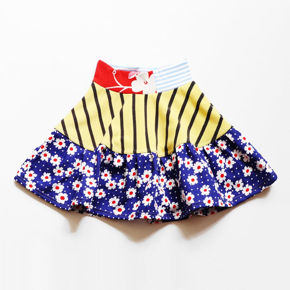 Image of daisy gold stripe navy blue red stripes flowers vintage fabric size 2 two print bright flouncy skirt