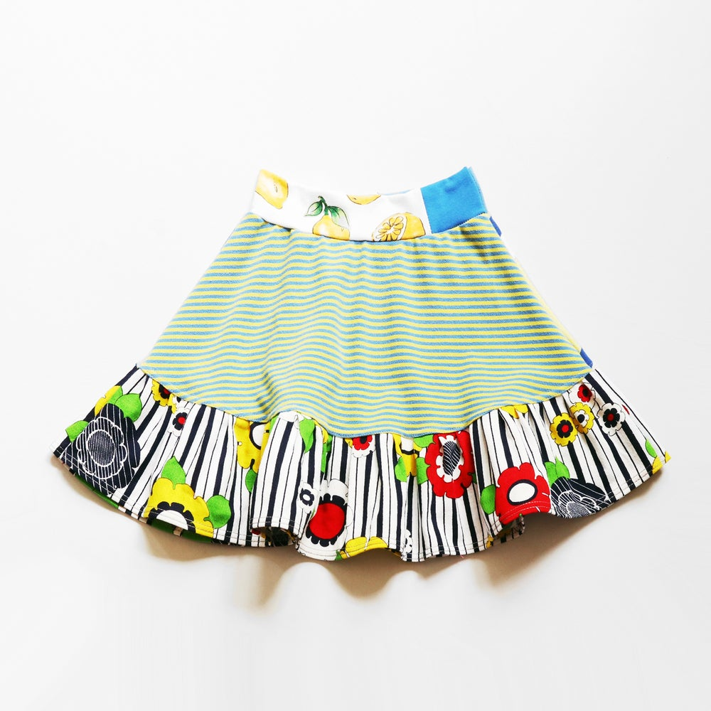 Image of yellow blue flower superstripe vintage fabric 8 floral print bright flouncy skirt courtneycourtney