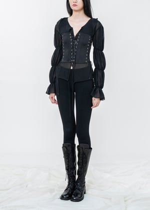 Image of Draped Puff Sheer Top With Corset Busiter