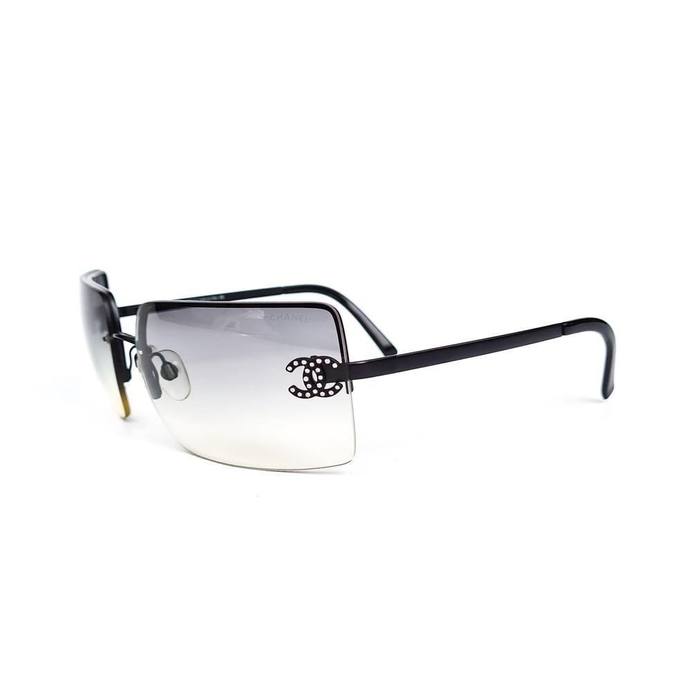 Image of Chanel CC Crystal Frameless Satin Black Gradient Sunglasses