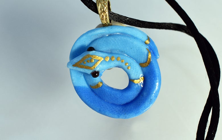 Image of **Fused Glass Pendant Blue Snake