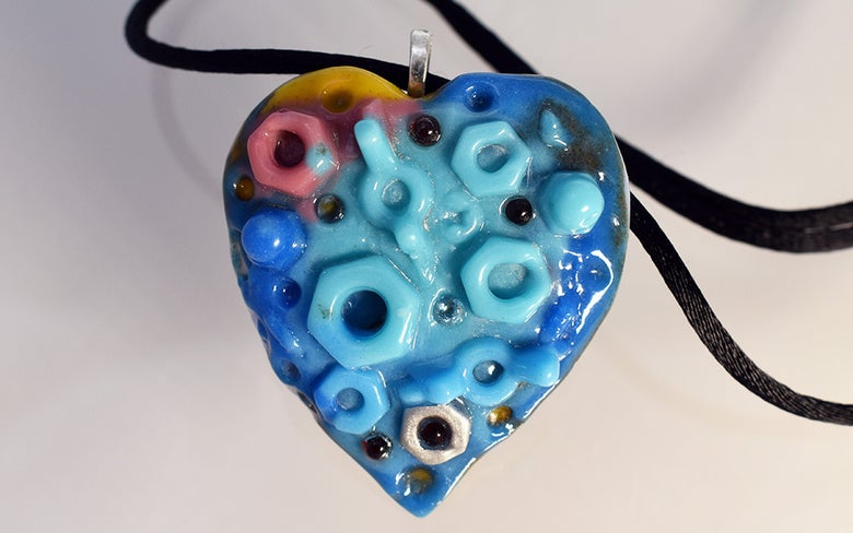 Image of ** Fused Glass Pendant The  Nuts and Bolts of Love