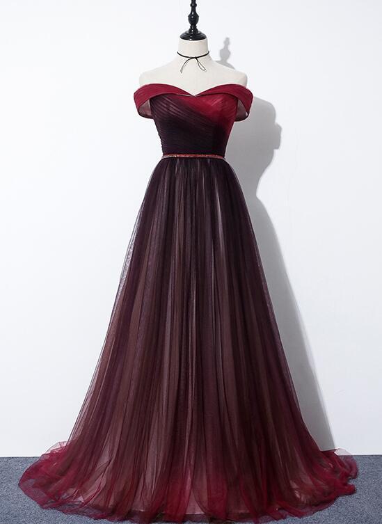 Beautiful Beaded Tulle Dark Red Gradient Evening Dress, Long Prom Dress
