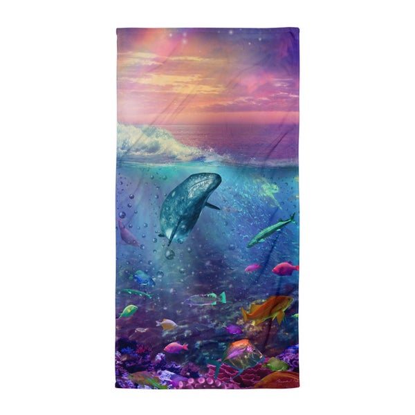 Image of Whale Dream Sunset Beach Towel