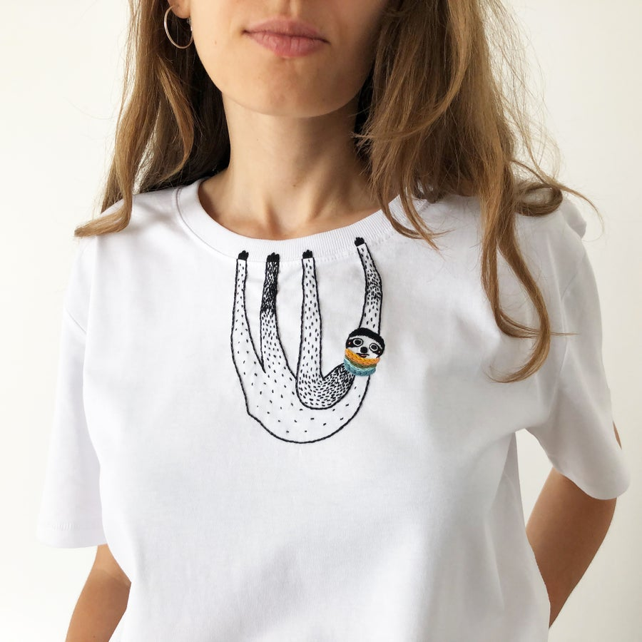 Image of Sloth tshirt - hand embroidered original illustration on 100% organic cotton, available in ALL sizes