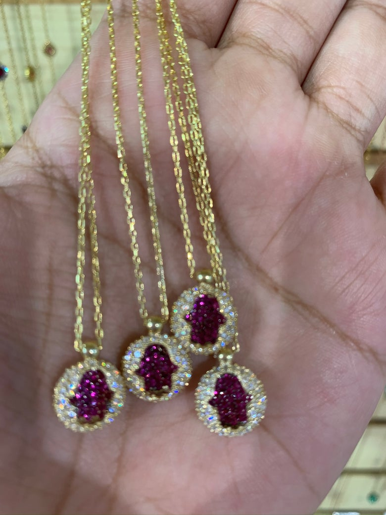 Image of Pink Diamond Hamsa necklace