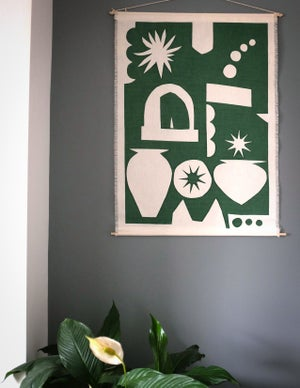 Linen Wall Hanging in Italy print - Sage Green