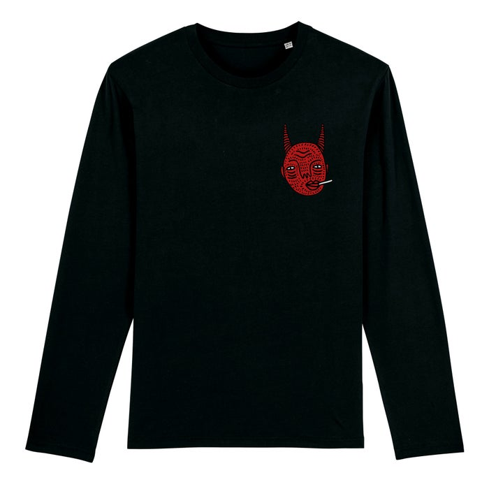 Image of Devil Head Long Sleeve Black - Unisex T - By Polly Nor