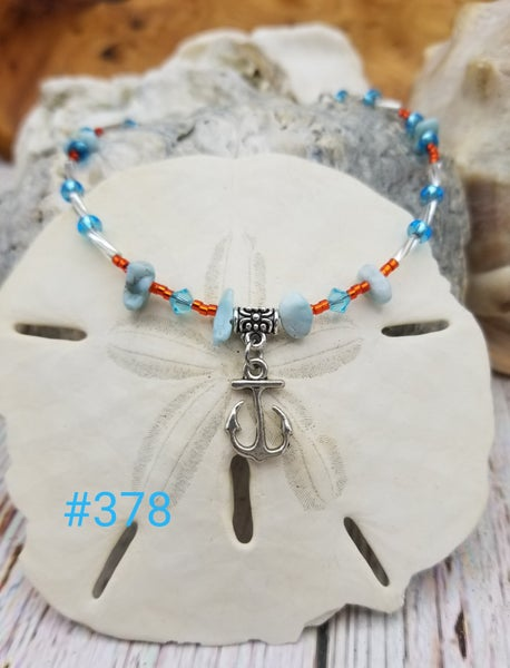 Image of Larimar- Czech Seed Beads- Anchor- Anklet- #378