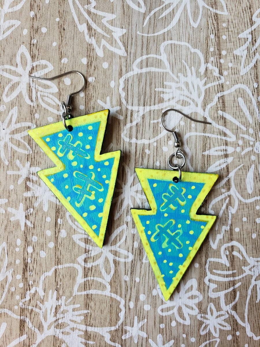 Image of Arrowhead earrings-teal and neon yellow