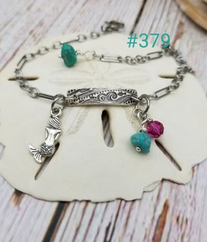 Image of Fine Silver- Recycled Silver- Handmade- Turquoise- Mermaid- Anklet- #379