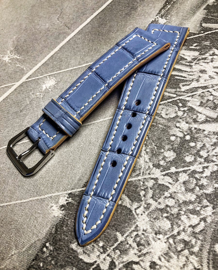 Image of Hand-stitched Light blue alligator watch strap