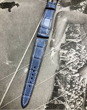 Image of Hand-stitched Light blue alligator watch strap