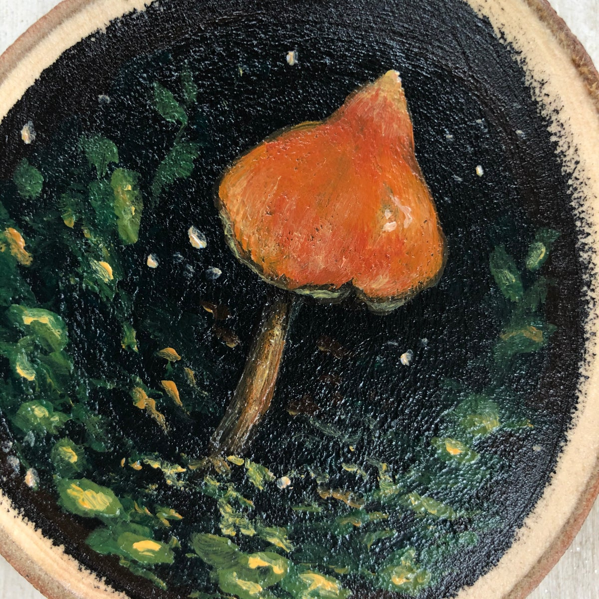 Salmon-colored Nolanea| Orignal Wood Slice Painting