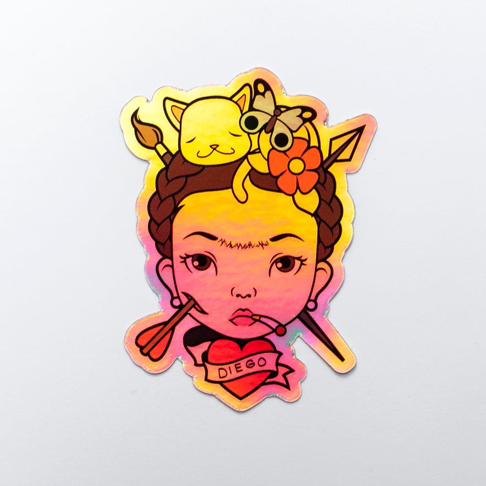 """Image of Saint Frida """"3 Holographic Sticker"""