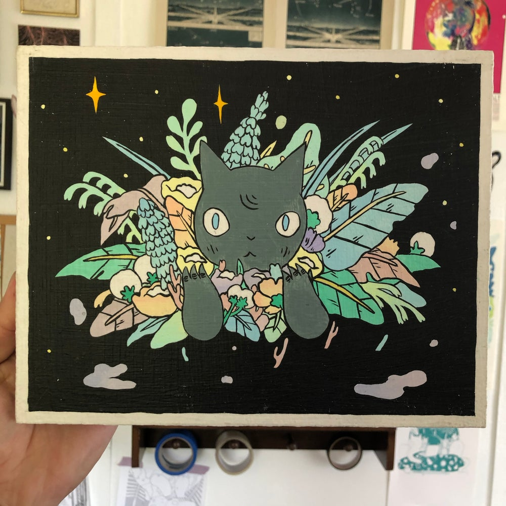Image of Bouquet Cat Painting