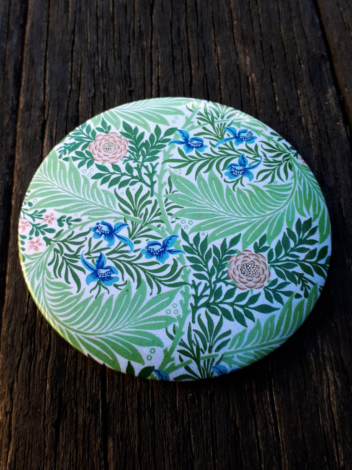 Image of William Morris Pocket Mirror - Larkspur design
