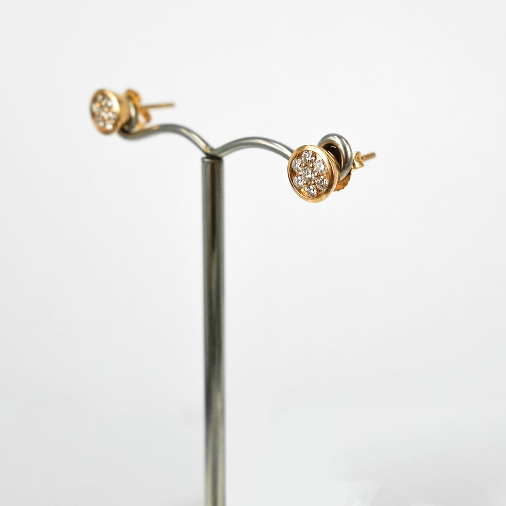 Image of PJ5451 - 14ct rose gold diamond pave set studs