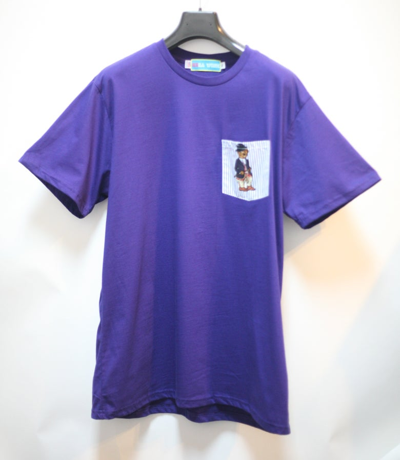 Image of Purple Teddy Bear Pocket Tee Shirt