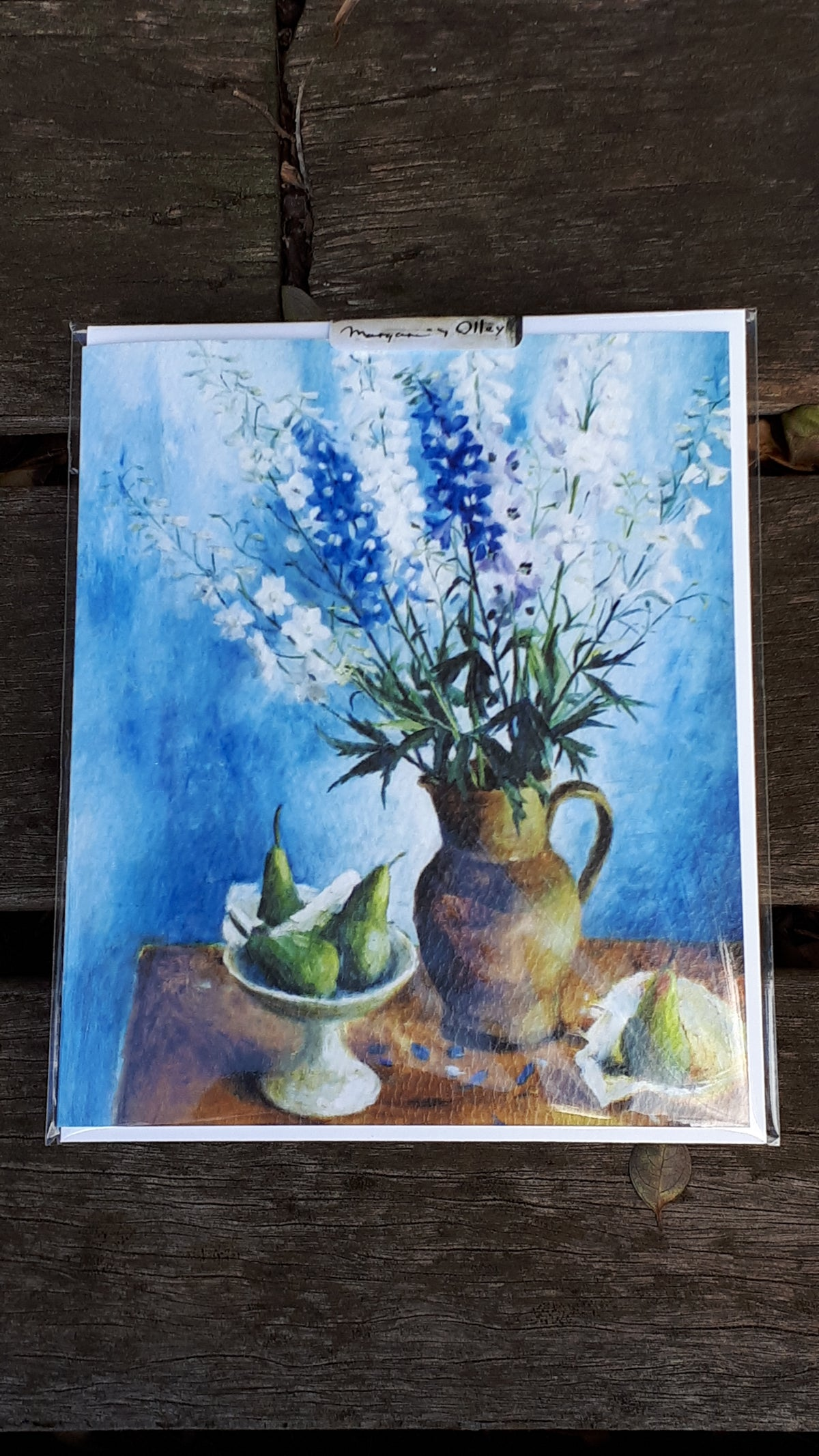 Image of Margaret Olley Blank Card - Delphiniums and Pears